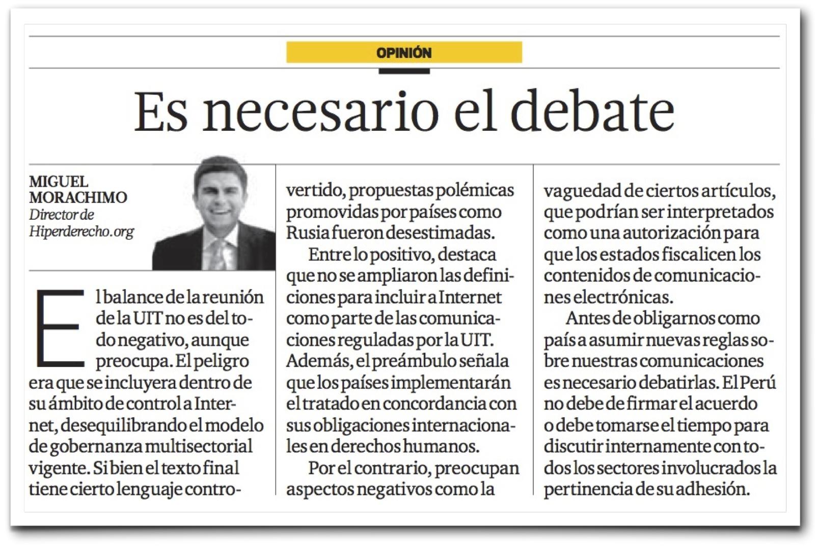 Artículo en El Comercio   Hiperderecho